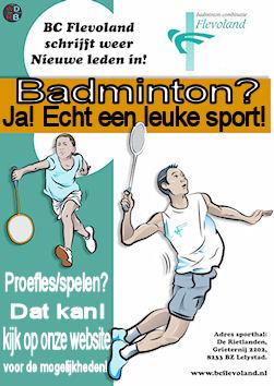 Kom badmintonnen bij BC Flevoland te Lelystad